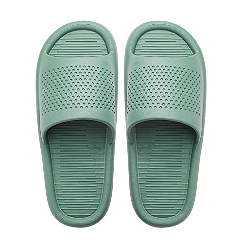 NUGKPRT chanclas,Cómodas zapatillas de baño antideslizantes suela gruesa y suave sandalias de diapositivas de interior verano casual plataforma unisex hombres mujeres zapatos de casa 38-39 verde