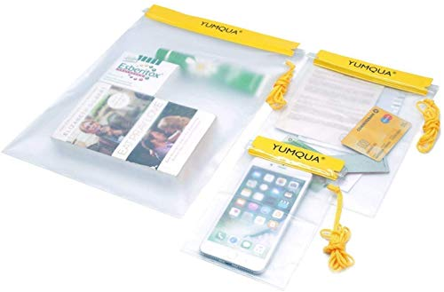 YUMQUA Clear Waterproof Bags, Water Tight Cases Pouch Dry Bags for Camera Mobile Phone Maps Pouch...