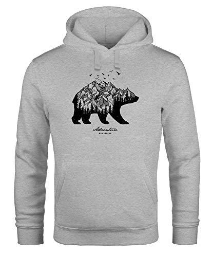 Neverless Hoodie Herren Bär Abenteuer Berge Wald Bear Mountains Adventure Kapuzen-Pullover Männer grau M