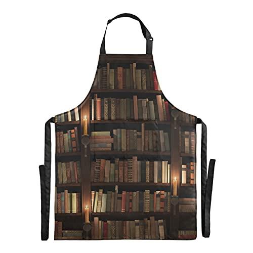 Estantería de textura Mysterious Library Chef Delantal para hombre Cocina Ajustable 88x68cm Delantal de cocina para hombre Delantales de barbacoa con gotas de agua para hombres para hombres mujeres