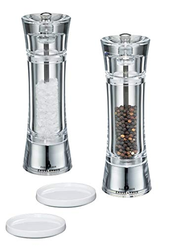 Zassenhaus Gewürzmühle 2er Set mit verstellbarem Keramikmahlwerk - Salzmühle & Pfeffermühle aus hochwertigem Arcyl