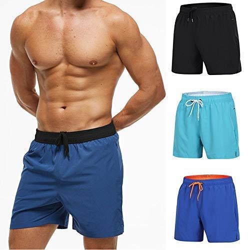 Soul hill Hommes Swim Trunks, Natation Quick Dry Short, Longueur au Genou Shorts for Pocket Stretchy Beach Sports Natation zcaqtajro (Color : Black, Size : 3XL)