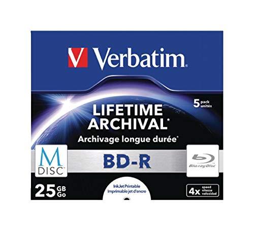 Verbatim MDISC BD-R - 25 GB, 4-fache Brenngeschwindigkeit mit bedruckbarer Oberfläche, 5er Pack Jewel Case