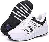 XRDSHY Zapatos con Ruedas Patines De Ruedas Zapatos De Skate Zapatos De Gimnasia Al Aire Libre Zapatillas De Moda para Niños Niñas Niños,White-33 EU