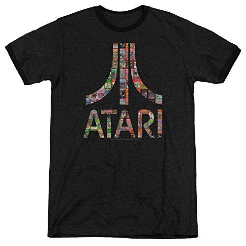 Atari Ringer T-Shirt Game Box Art Logo Black Tee