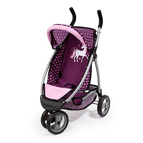 Bayer Design 39937AA Doll passeggino Jogger sport con carrello integrato, bell, Unicorn Style, rosa, viola