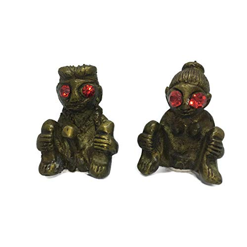 Brass Thai Amulet Erotic Nude Naked Couple Red Eyes Hindu Cute Statue Man & Woman Male & Female Figurine Kama Sutra Love Good Luck Charm Doll Voodoo Affinity Affection Attraction 1.5' Height 2 Pieces