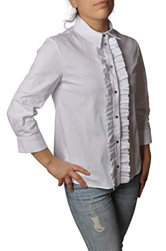 DONDUP Hemd 3/4 Ärmel mit Rouches und Knöpfen Clip DC103CS0103D Weiß Gr. Weiß Bianco 34