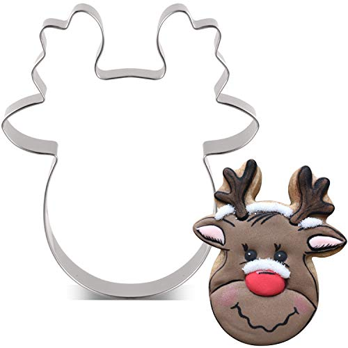 KENIAO Christmas Reindeer Face Cookie Cutter - 3.4 x 4 inches - Stainless Steel