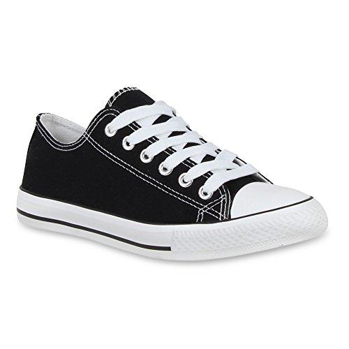 stiefelparadies Damen Sneakers Kult Sport Stoff Schnürer Gr. 36-41 Schuhe 48624 Schwarz Weiss 44 Flandell