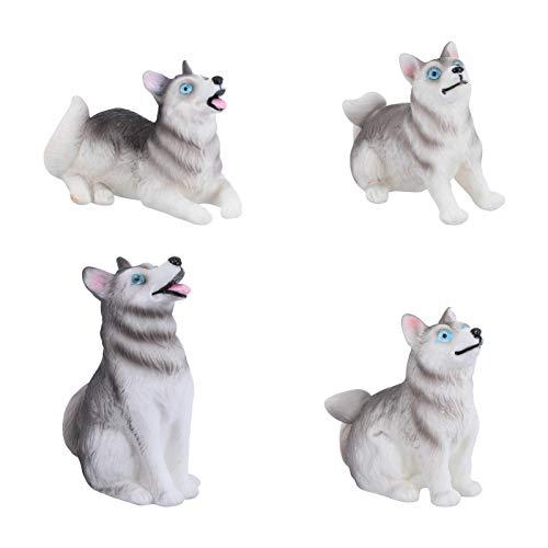 Cabilock 4Pcs Figuritas de Husky en Miniatura Cake Toppers Mini Dog Figure...