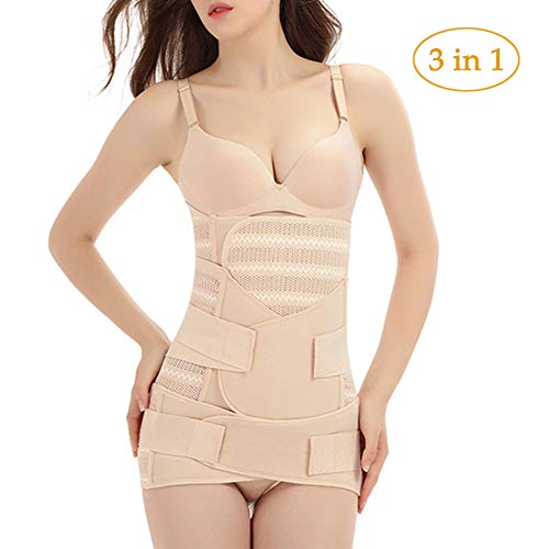 MOXIN 3 in 1 Women Maternity Postpartum Recovery Pregnant Belly Wrap After Delivery Birth Breathable Belt Girdle Back Support Recovery Body Shaper Postnatal Shapewear Slimming,Skin Color,XL
