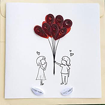 Love Card for her/him - Valentines Anniversary Birthday Greeting cards 6 x6  with envelope-Quilling Handmade 3D card