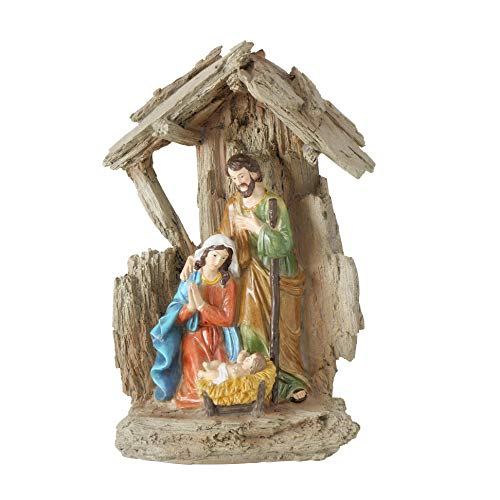 RiloStore Tischkrippe 22cm Weihnachten Krippe Natur braun grau nr5578 Deko Figuren Christus Jesus Weihnachtskrippe Kunstharz Weihnachten Geschenk Tischdeko Krippenfiguren