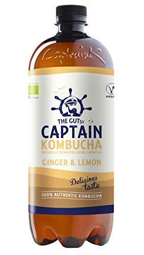 Captain Kombucha – Bebida Probiótica Naturalmente Fermentada, Sin Aditivos ni Conservantes, Sin Colorantes ni Sabores Artificiales, Sin Pasteurizar, Vegan - 6 x 1000ml (Ginger Lemon)