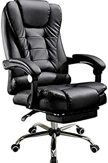 HoniHom Reclining Leather Office Chair with Footrest - High Back Executive Adjustable Rolling Swivel Chair with Retractable Footrest - Black