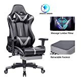 Blue Whale Gaming Chair PC Computer Chair with Footrest Ergonomic Video Game Chair High Back Racing Gamer Chair Reclining Leather Office Chair with Headrest and Lumbar Support (8192Grey)