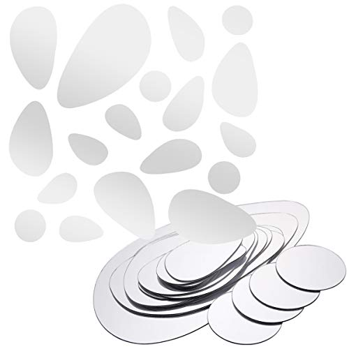 18 Pcs Sticker Miroir Autocollant Adhésif Décoratif Decoration Mural Meuble ( Galet ovale 44x30cm )