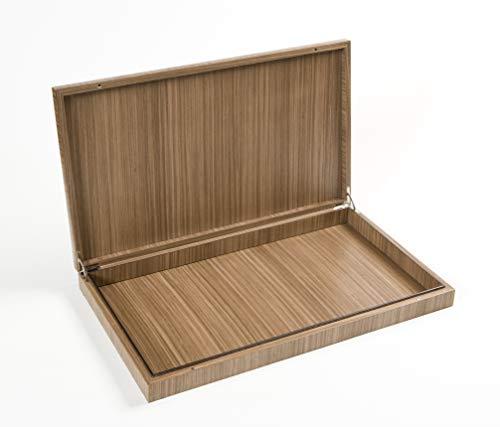 iWOODESIGN Caja de almacenamiento de madera de nogal caliente con tapa, organizador decorativo