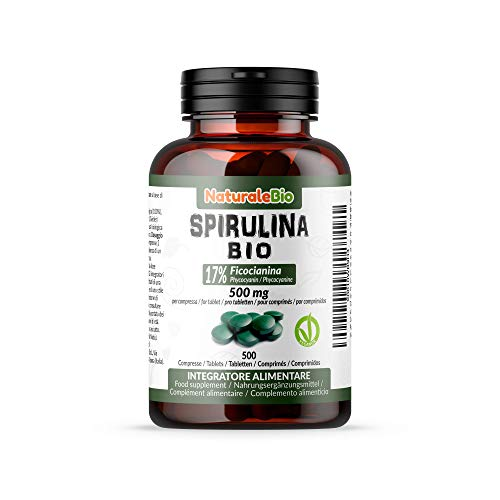 Organic Spirulina Alga Tablets (500 Tablets) 500mg. 100% Bio, Natural and Pure, Phycocyanin 17%. Cultivated in India in Tamil Nadu. Suitable for Vegetarian and Vegan. NATURALEBIO