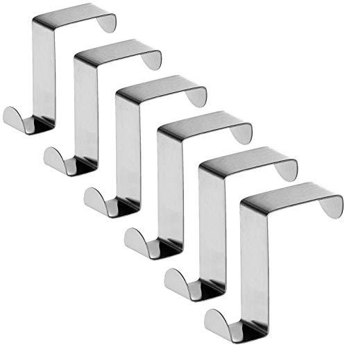 Tatkraft Seger Ganchos sobre Puerta (Set de 6), hasta 5 kg, Acero Inoxidable, Reversibles para Puertas de Armario o de...