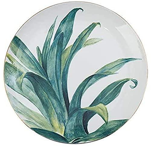 ZRB Juego de Platos, Conjuntos de Cena de cerámica Phnom Plato Plato de 8 Pulgadas Desayuno para el hogar Vajilla Simple Bone Plate Creative Ceramic Plate Green 20cm