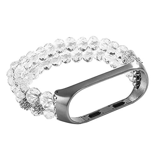 Pulsera de cristal de las mujeres para la banda MI 6 5 4 3 Reloj la correa elástica de la pulsera del estiramiento para MIBAND WATCHAND (Band Color : White, Band Width : Mi Band 5)