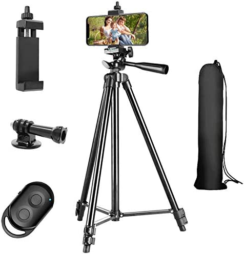 Phone Tripod 51 Extendable Lightweight Aluminum Phone Tripod Stand with Cell Phone Mount Holder product image