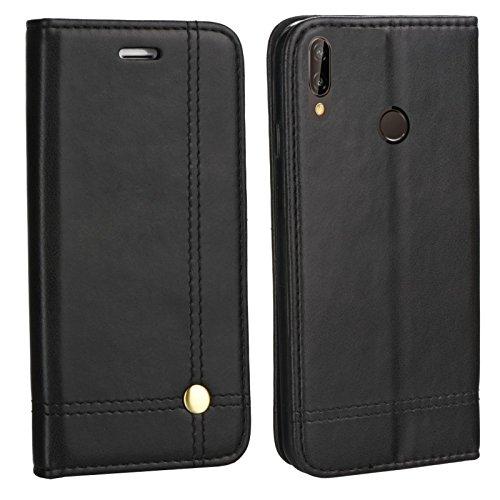 MOELECTRONIX Edle Buch Klapp Tasche SCHWARZ Flip Book Hülle Schutz Hülle Etui passend für Huawei P20 Lite ANE-LX1