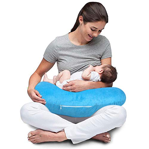 Baybee New Born Velvet Portable Breast Feeding Pillow | Infant Support for Baby and Mom | Best for Breastfeeding Moms - Blue