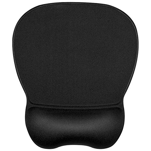 JIKIOU Ergonomic Mouse Pad with Wrist Support, Gel Mouse Pad with Non-Slip Rubber Base, Mouse Pad Wrist Rest with Comfortable Cloth for Working Studying Easy Typing & Pain Relief,9.2 x 8.1 in, Black