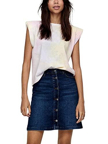 ONLY Damen ONLAMY PADDEDSHOULDER TIE DYE S/L DNMTEE T-Shirt, Yellow Pear/AOP:Option 1 Yellow/PINK/Purple, S