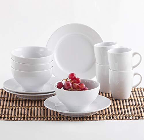 Kahla 57F284M90057C Pronto weiß ohne Muster rund Frühstücksservice 12 teilig für 4 Personen 4er Frühstücksset Porzellan Teller Becher Schüssel Schale