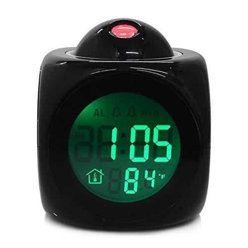 SASCD Reloj Despertador Vibe LCD Talking PROYECCIÓN DE Alarma DE Alarma Tiempo Y Temp Pantalla DE RESULTADOR DE PROYECCIÓN REVEIL (Color : Black)