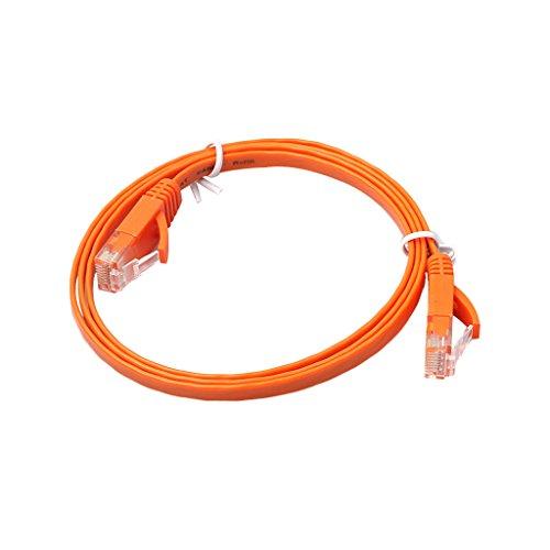 Lan Kabel - Cable Ethernet plano (1 m, Cat6, Gigabit Lan, RJ45, 1 Gbps, STP, para conmutador, router, módem, panel de conexiones, punto de acceso, plano), color negro