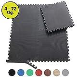 Sporttrend 24 - Schutzmatten und Randstücke Set 4-72teilig schwarz und weitere Farben 60x60x1cm und 30x30x1cm | Bodenschutzmatte Unterlegmatte für...