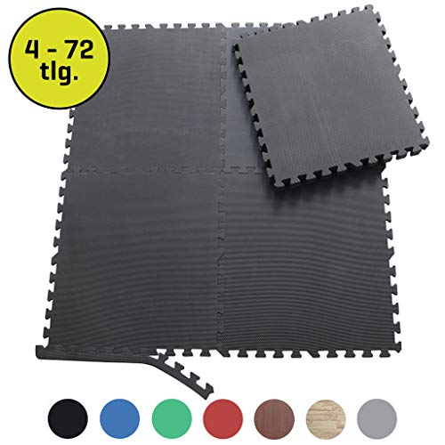 Sporttrend 24 - Schutzmatten Set 6-24teilig schwarz 60x60x10cm | Bodenschutzmatte Unterlegmatte für Fitnessgeräte Sportgeräte (12 Schutzmatten ohne Endstücke, schwarz)