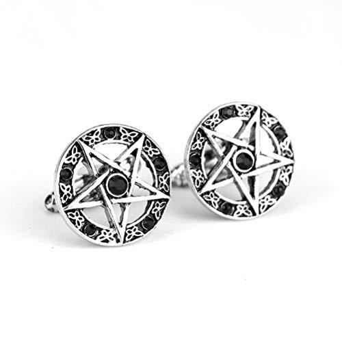 Gemelos Para Hombres, Moda Estrella De Cinco Puntas De Diamante Negro, Botones...