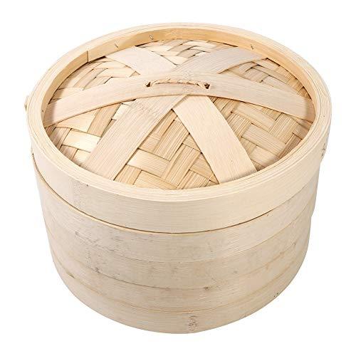 Food Steamer 4 Tamaños 2 Niveles Bamboo Steamer Basket Chinese Natural Rice Cooking Cocina de alimentos con tapa Nuevo(24cm)