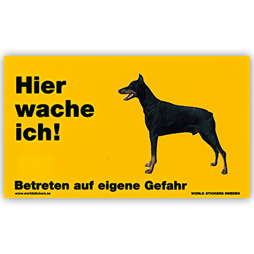 Schecker Warnschild Dobermann (stehend) Hier wache ich! Türschild Hundewarnschild