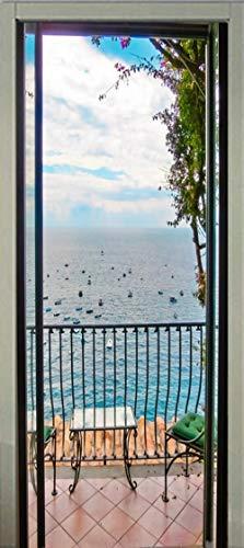 HCCYFRGN Adhesivos Para Puertas Mural De Puerta - Paisaje De Playa De Cielo Azul 80X200Cm 3D Autoadhesivo Puerta Pegatina Paredes Impermeable Vinilos Papel Pintado Puerta Decoracións