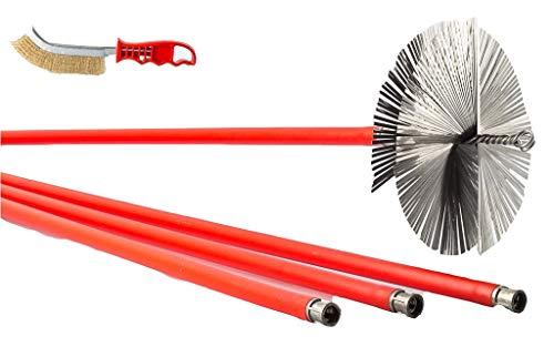 BARETTO - Kit Spazzacamino Acciaio 10 Aste - Scovolo 200mm Acciaio Spazzole Pulizia Camino Caldaia Stufa Canna Fumaria