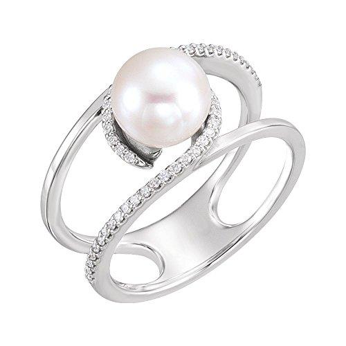 JewelryWeb - Anillo de Oro Blanco de 14 Quilates, Perla de Agua Dulce Pulida DE 7,5 a 8 mm y Diamante de 0,13 DWT – Talla M 1/2