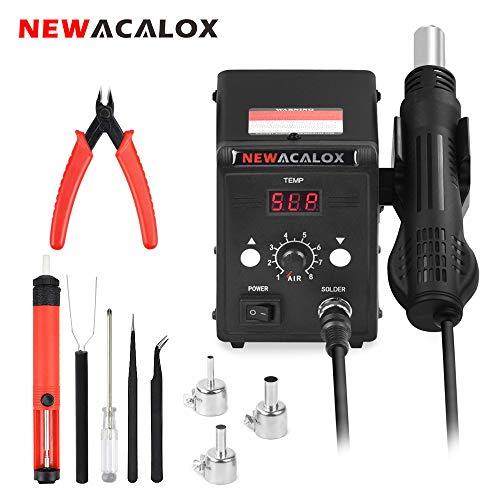 Heißluftstation,NEWACALOX Überarbeitungsstation mit Heißluftpistole, Airflow Einstellbare SMD Lötstation mit LED-Anzeige für BGA IC Entlötwerkzeug