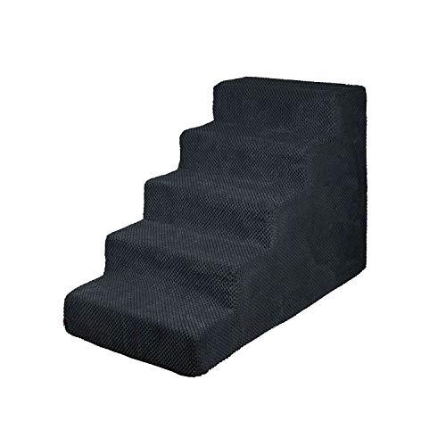 BOUTIQUE ZOO Hundetreppe 50 cm hoch | Katzentreppe Haustiertreppe | 5 Stufen | Hunde Katzen Haustier | für Bett und Auto | Trepp für kleine Hund | Plüschbezug | Farbe: Schwarz