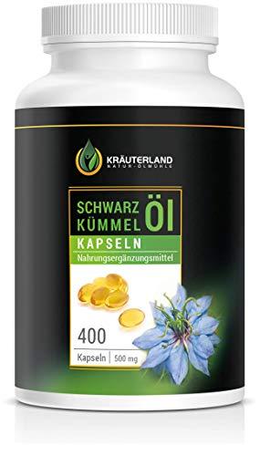 Kräuterland Schwarzkümmelöl - 400 Kapseln - 100{ae9a2fbd673af4d9c92cee9b469bad42528482ab6c793bfa5148a5e7bac9036c} rein, ägyptisch, kaltgepresst, original Nigella sativa - Premium Qualität direkt vom Schwarzkümmelöl Hersteller aus Deutschland - Laborgeprüfte Qualität und Reinheit