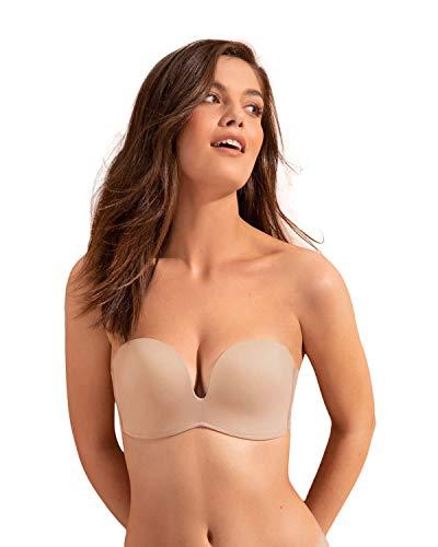 Leonisa Anti-Slip Strapless Wireless Push up Bra for Women - Add 2 Cup Sizes Beige