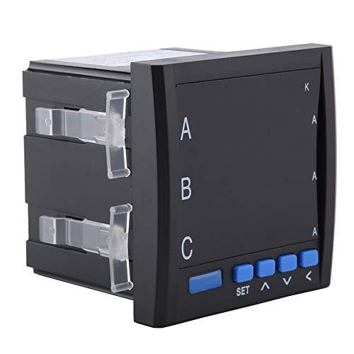 Amperímetro trifásico, Akozon Pantalla inteligente digital trifásica Amperímetro de CA programable (negro)