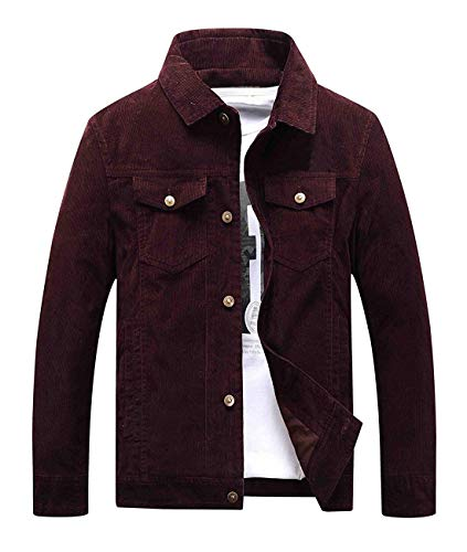 Mens Vintage Button-Front Slim Fit Wine Red Corduroy Denim Jacket