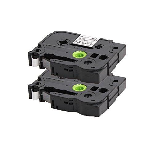 2x Label Tape / Nastro Laminato per BROTHER P-Touch TZe 325 / TZ 325 | bianco sur nero / 9mm x 8m | compatibile per Brother P-Touch